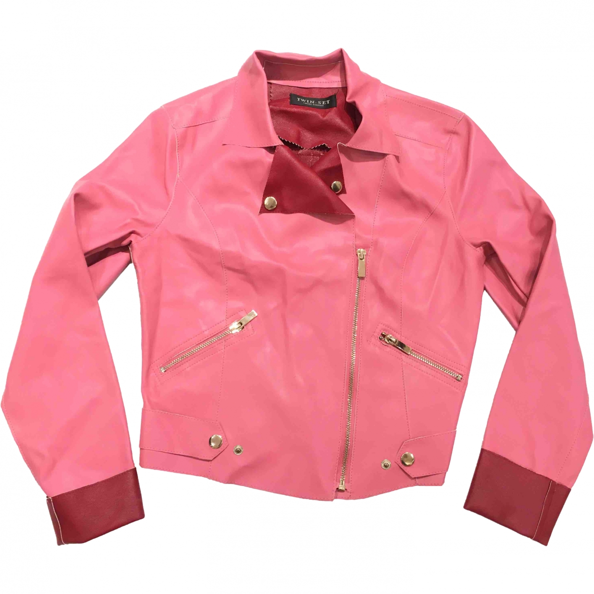 Twin Set \N Pink Leather jacket for Women 38 IT
