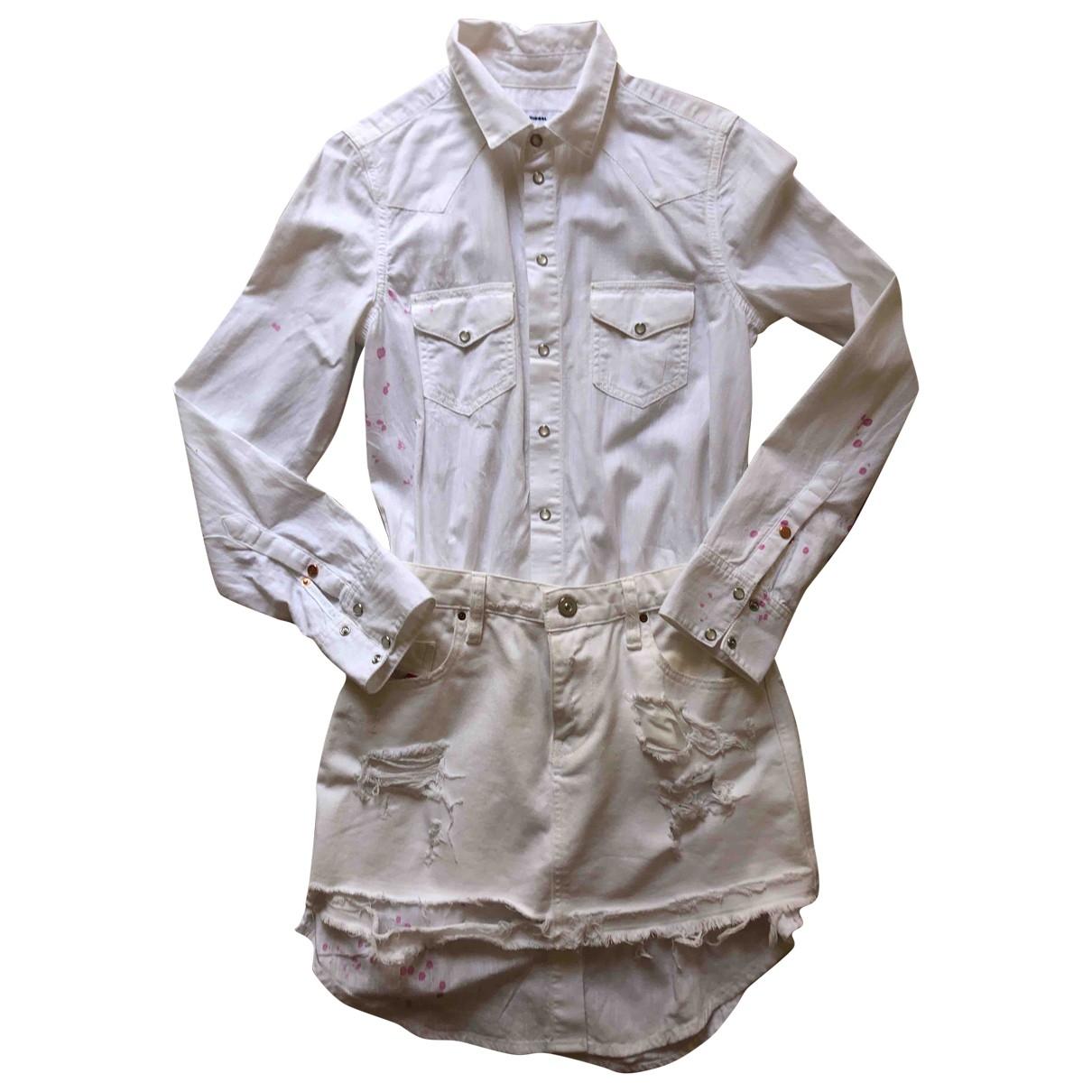 Diesel \N Kleid in  Weiss Baumwolle