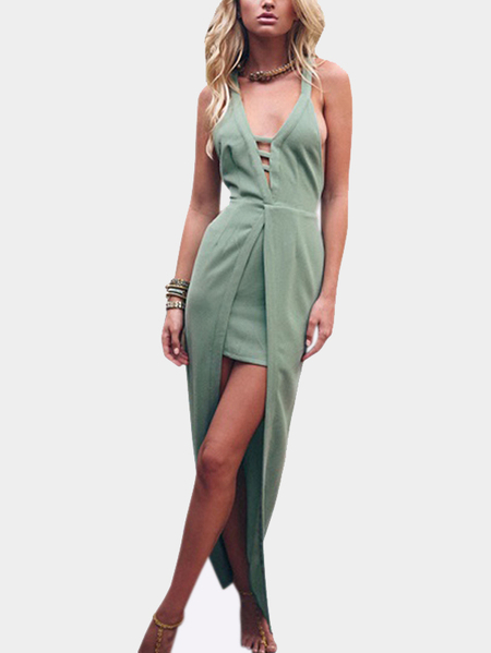 Yoins Crisscross Back Cutout V-neck Party Dress with Long Overlay