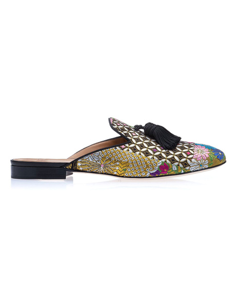 Milanoo Mens Black Tassel Mule Loafers Leather Flower Embroidered Slipper Shoes