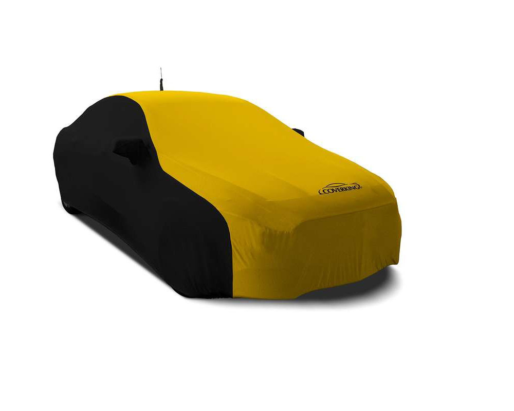 Coverking CVC2SS299CH10095 CVC2SS299 Satin Stretch 2-Tone Black Sides Velocity Yellow Center Custom Car Cover Chevrolet Bolt EV 17-20