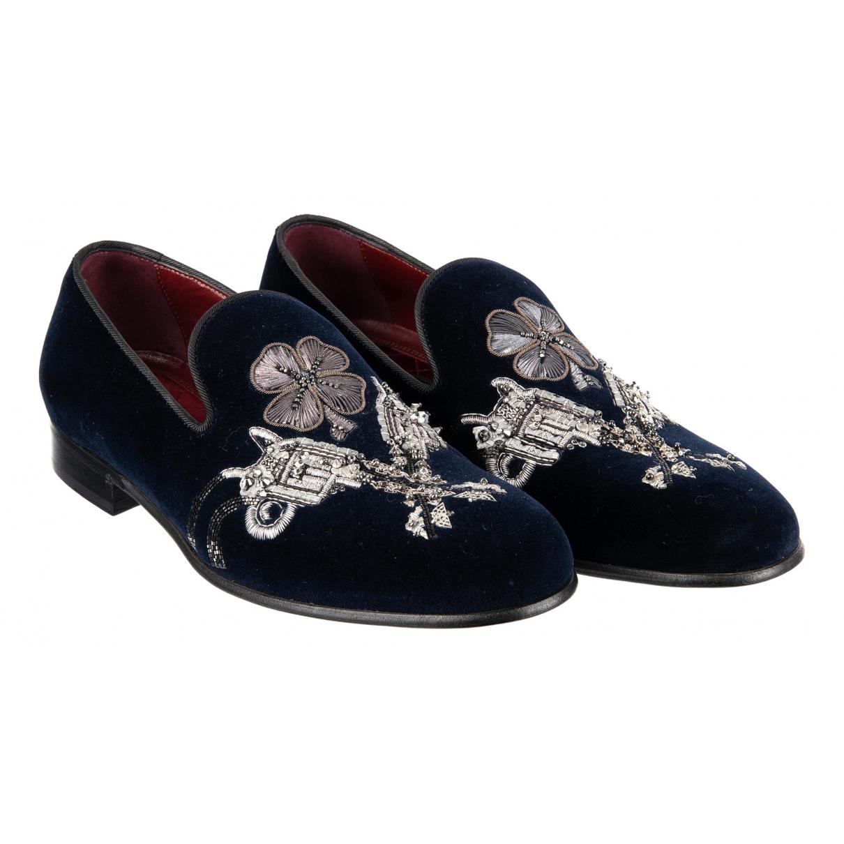 Dolce & Gabbana N Navy Velvet Flats for Men 43 EU