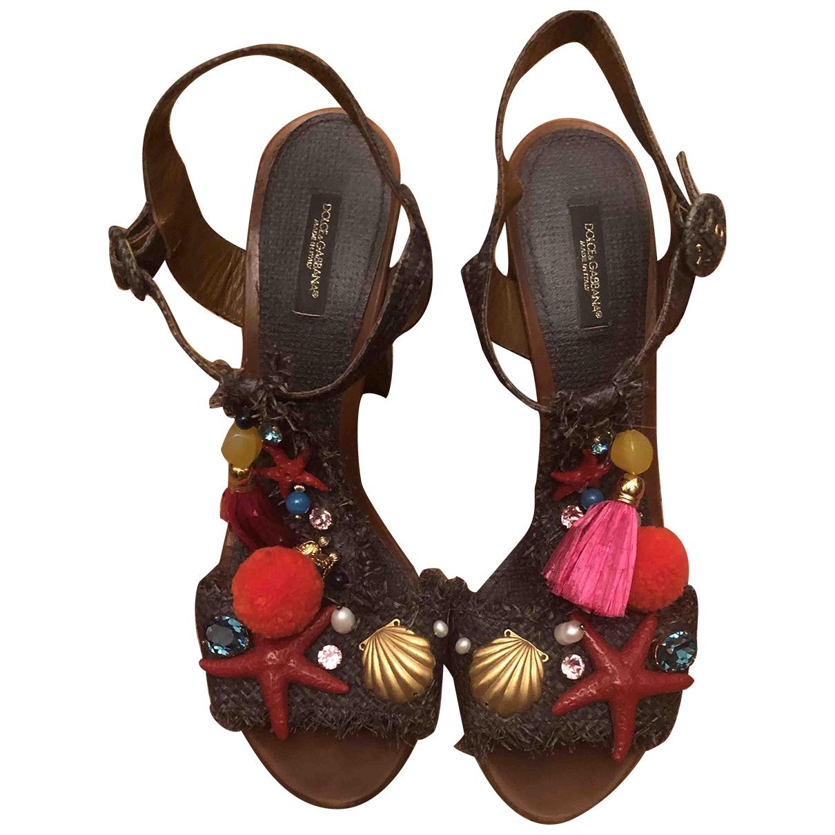 Dolce & Gabbana \N Sandalen in  Grau Leinen