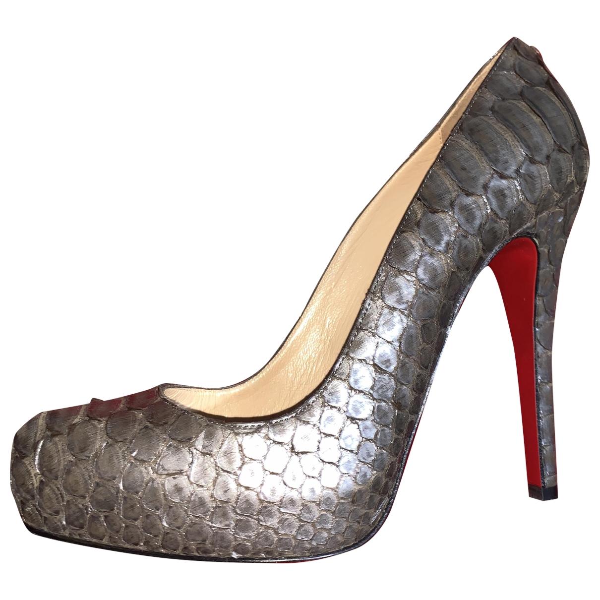 Christian Louboutin - Escarpins   pour femme en python - metallise