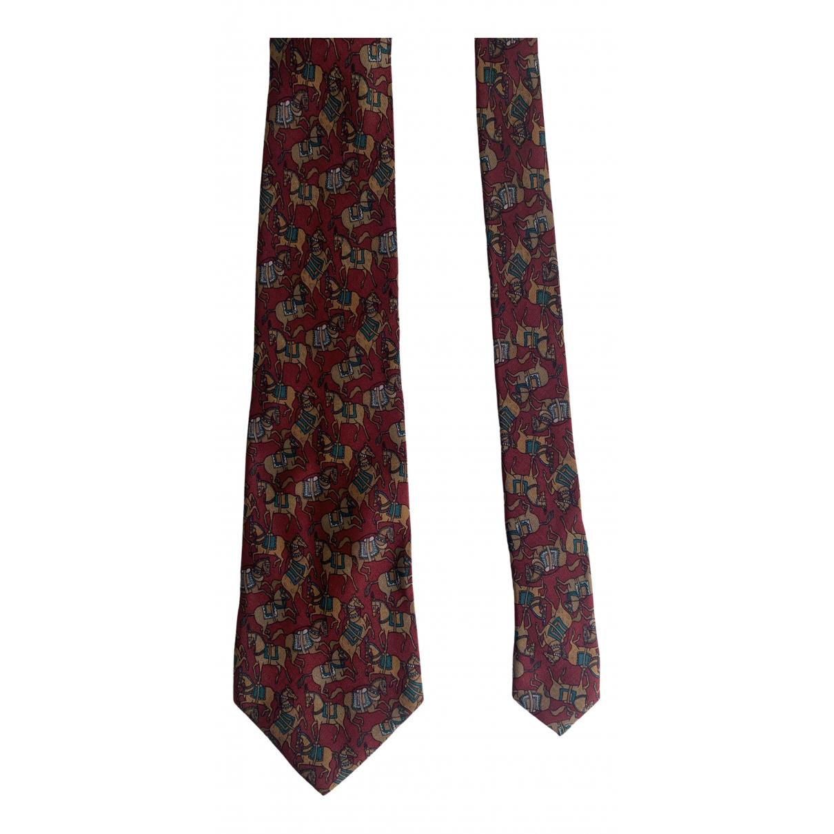 Salvatore Ferragamo \N Krawatten in  Bordeauxrot Seide
