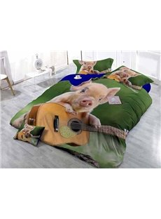 Creative Pig Playing the Guitar Wear-resistant Breathable High Quality 60s Cotton 4-Piece 3D Bedding Sets