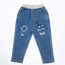Toddler Boys Letter Graphic Elastic Waist Jeans