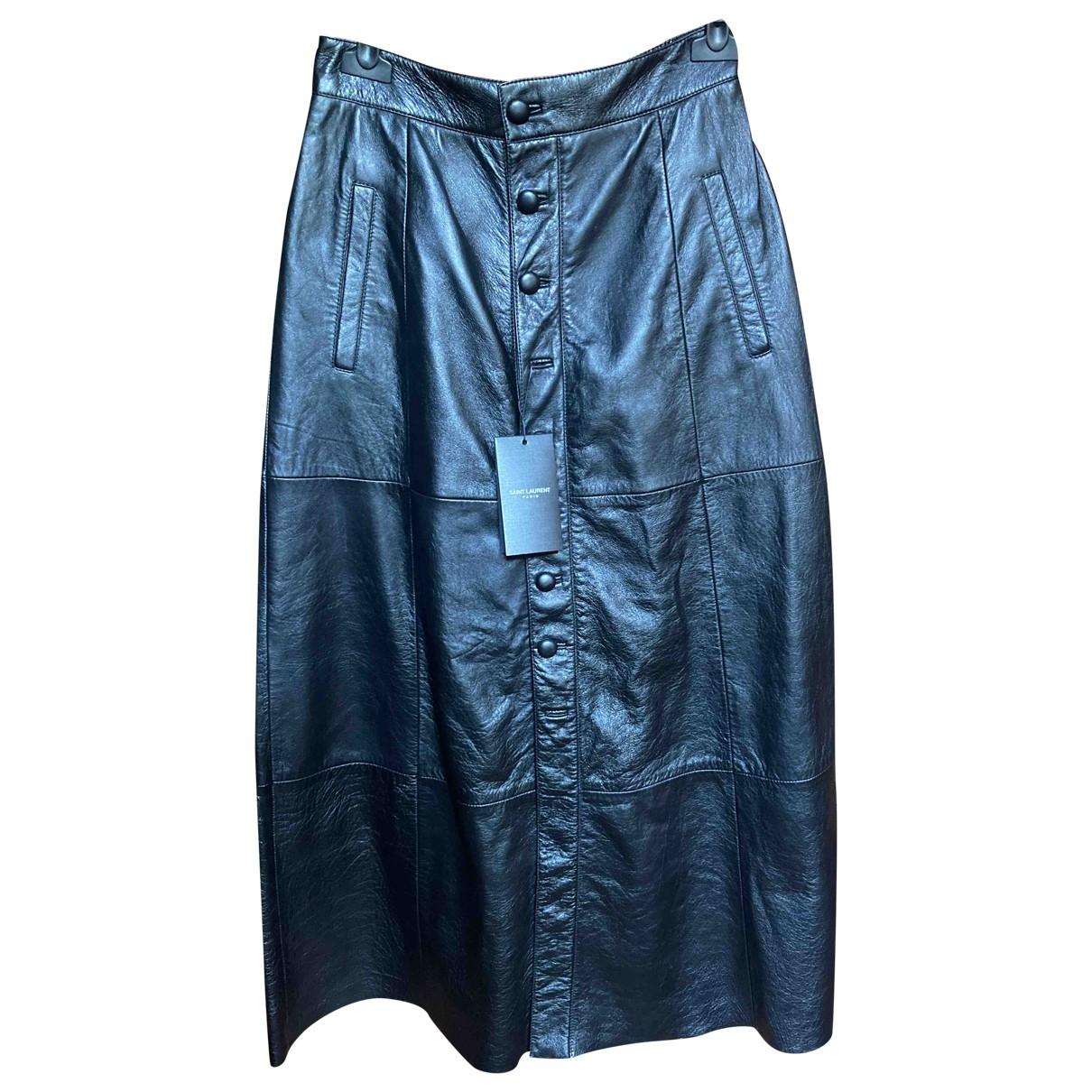 Saint Laurent \N Black Leather skirt for Women 38 FR