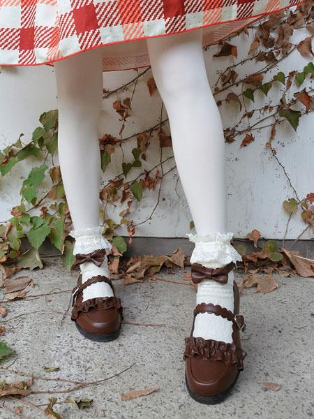 Milanoo Classic Lolita Shoes Ruffle Bow Ankle Strap PU Lolita Pumps
