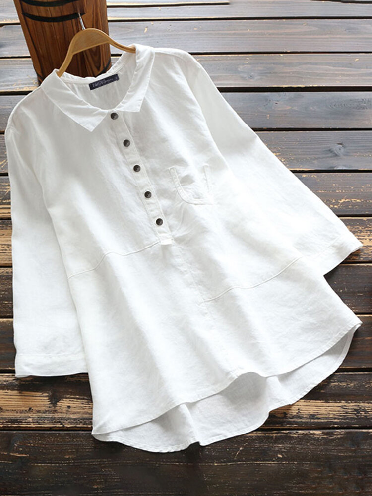 Casual Solid Color Shirt Lapel Collar Long Sleeve Cotton Blouse