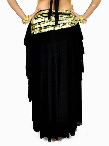 Milanoo Disfraz Halloween Falda negra de danza del vientre con volantes Halloween