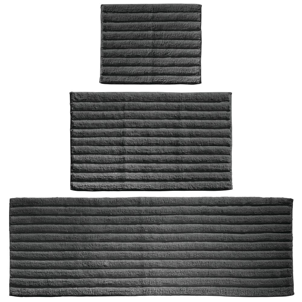 Cotton Rectangular Bathroom Mat Combo with Ribbed Design - Set of in Black, 17