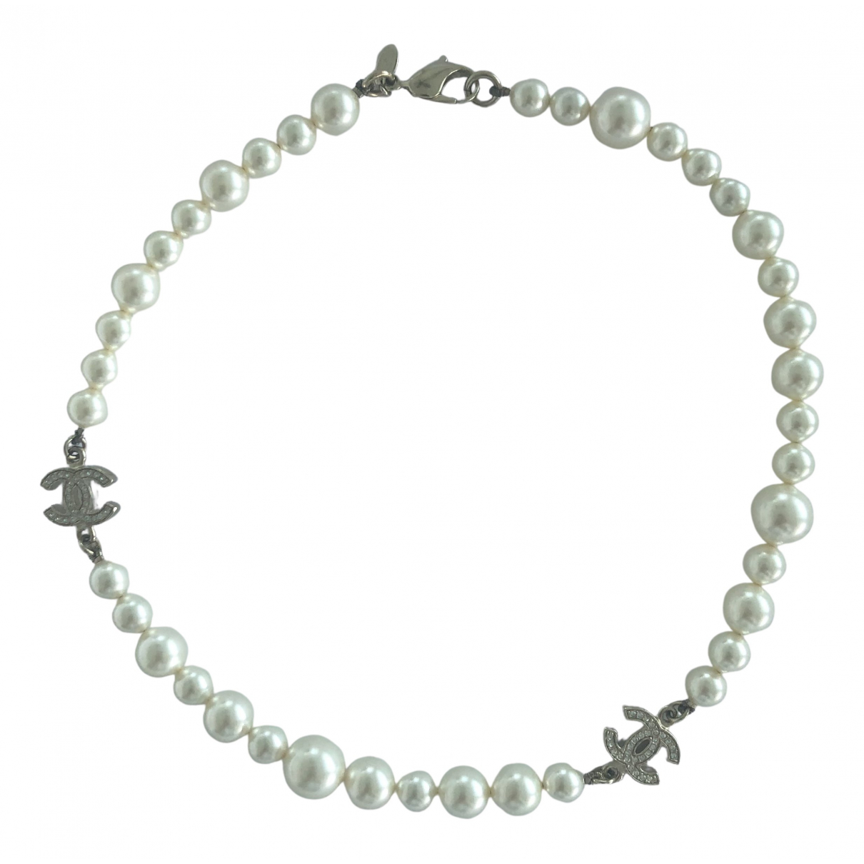 Chanel CC Kette in  Weiss Perle