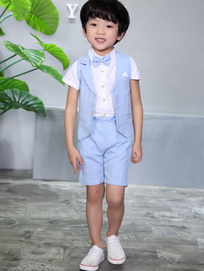 Ericdress Bowknot Plaid Pocket 3-Pcs Boys Outfit