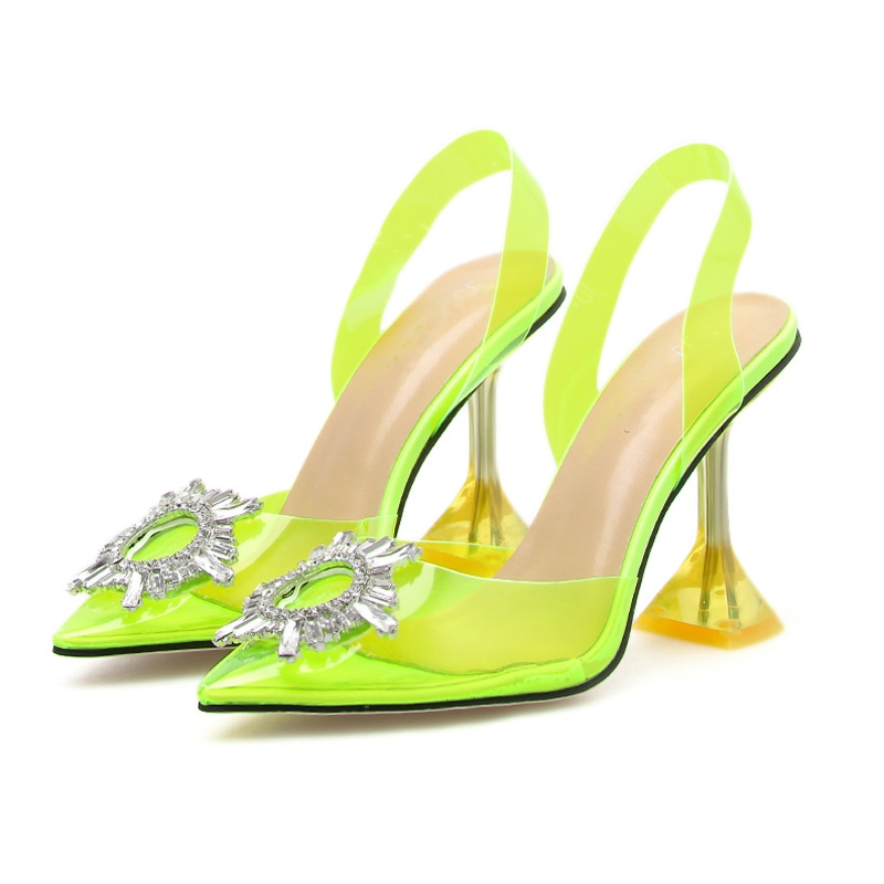 Ericdress PVC Rhinestone Stiletto Heel Slip-On Slingback Strap Women's Sandals