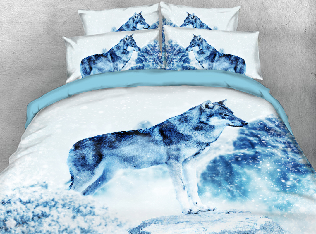 Winter Wolf 4pcs 3D Animal Durable Bedding Sets No-fading Soft Reactive Printing Zipper Duvet Cover with Ties