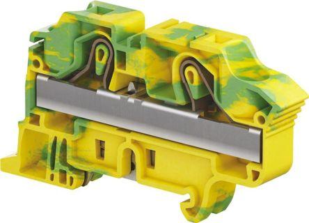 Entrelec , ZK16 Standard Din Rail Terminal, Spring Clamp Termination, Green/Yellow