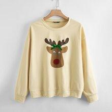 Sweatshirt mit Elch Muster und sehr tief angesetzter Schulterpartie