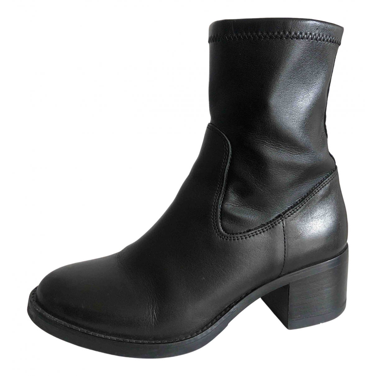 Pollini N Black Leather Boots for Women 35 EU