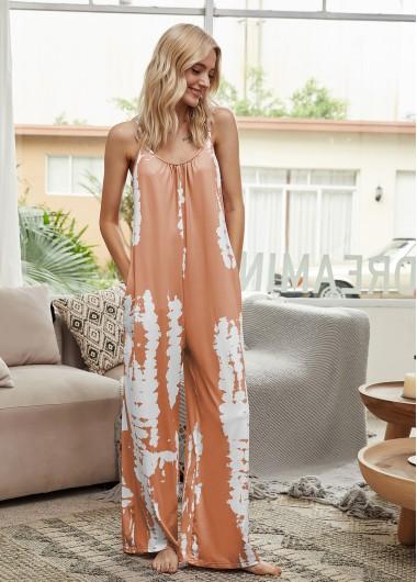 Spaghetti Strap Printed Sleeveless Jumpsuit - XL