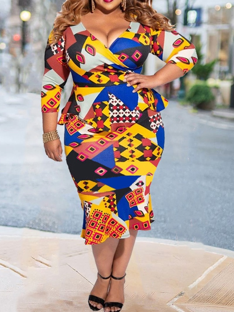 Ericdress Three-Quarter Sleeve V-Neck Print Pullover Office Lady Dress