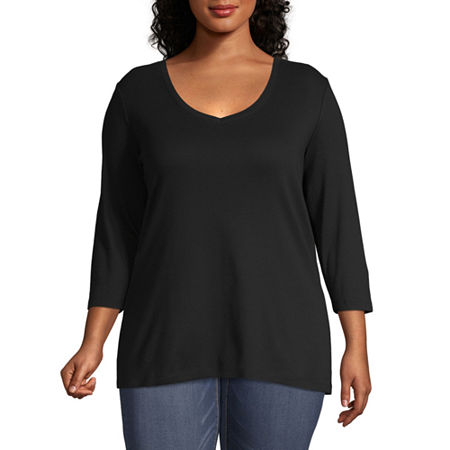 St. John's Bay Plus-Womens Scoop Neck 3/4 Sleeve T-Shirt, 5x , Black
