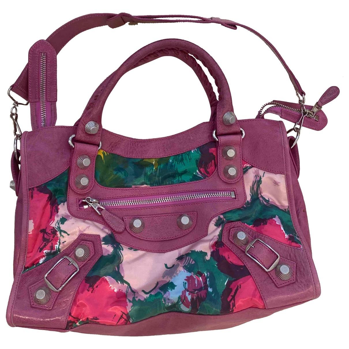 Balenciaga City Pink Cloth handbag for Women \N