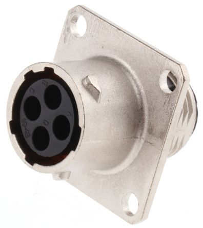 Souriau , UTO 4 Way Wall Mount MIL Spec Circular Connector Receptacle, Socket Contacts,Shell Size 10, Bayonet Coupling