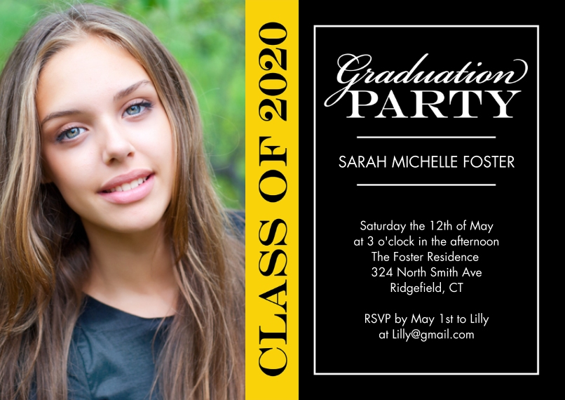 2020 Graduation Invitations Flat Matte Photo Paper Cards with Envelopes, 5x7, Card & Stationery -Graduation Invite Party 2020 by Tumbalina