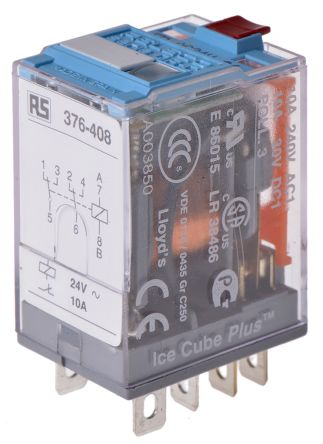 Releco , 24V ac Coil Non-Latching Relay DPDT, 10A Switching Current Plug In