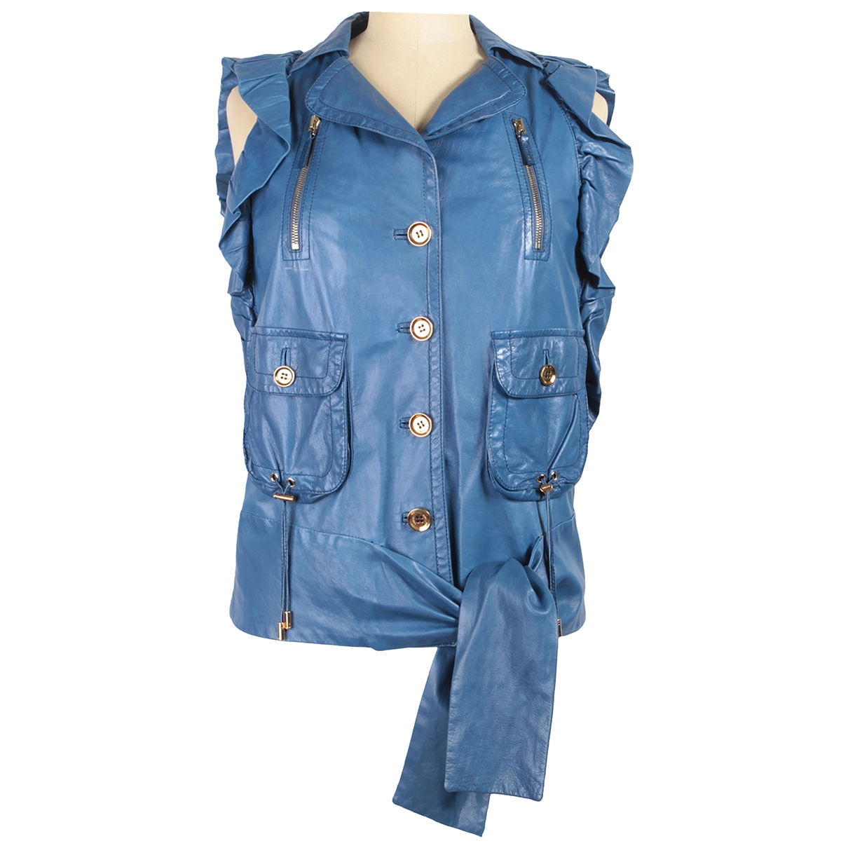 Gucci \N Blue Leather jacket for Women 40 IT