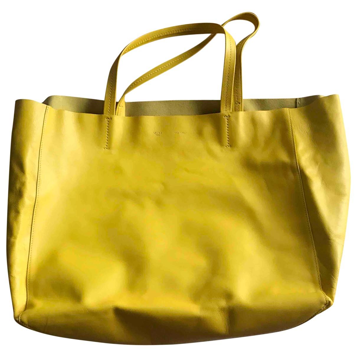 Celine Cabas Yellow Leather handbag for Women \N