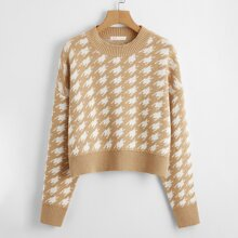 Allover Pattern Drop Shoulder Sweater