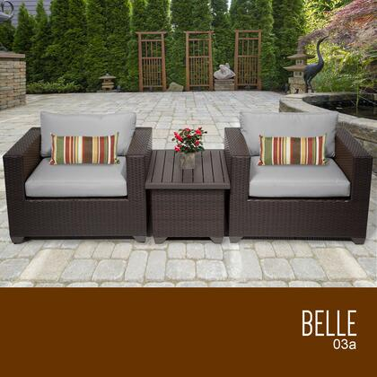 BELLE-03a-GREY Belle 3 Piece Outdoor Wicker Patio Furniture Set 03a with 2 Covers: Wheat and