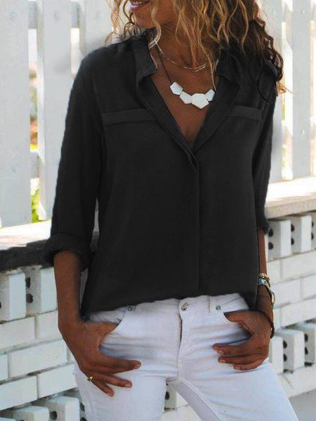 Milanoo Women\\'s Blouse White Polyester Turndown Collar Casual Long Sleeves Tops