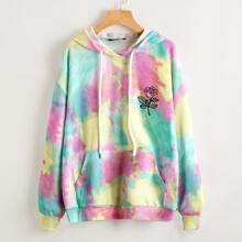 Floral Print Tie Dye Drop Shoulder Pocket Front Hoodie