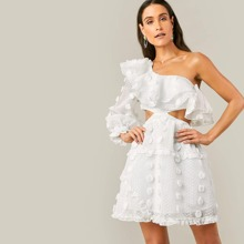 One Shoulder Layered Ruffle Cutout Applique Dress