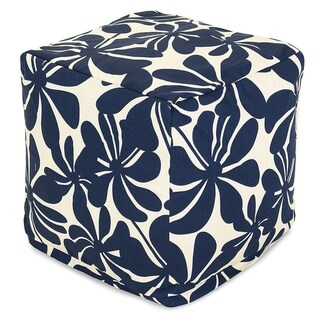 Majestic Home Goods Plantation Indoor / Outdoor Ottoman Pouf Cube (Navy)