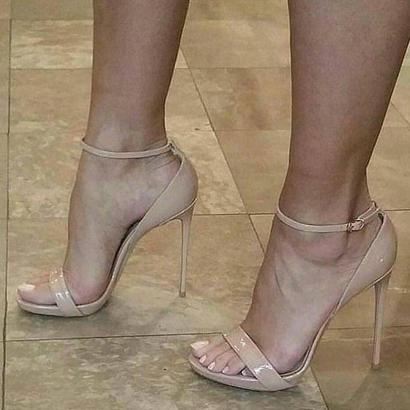 Ericdress PU Open Toe Line-Style Buckle Heel Sandals
