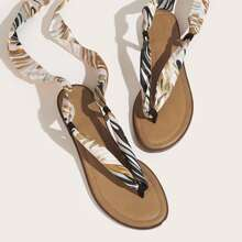 Twilly Scarf Decor Thong Sandals