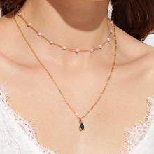 Collar a capas con diseño de diamante de imitacion con perla artificial 1 pieza