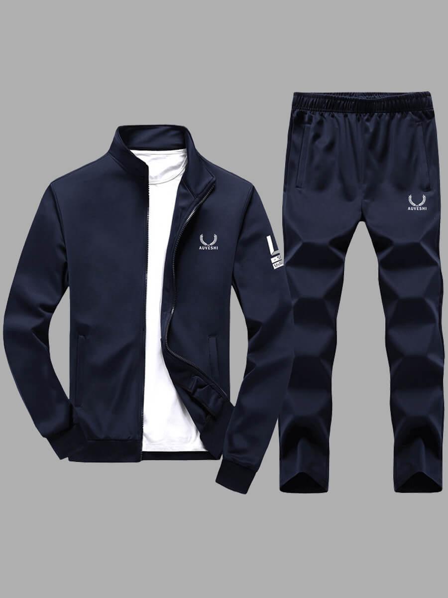 LW Lovely Trendy Mandarin Collar Print Zipper Design Dark Blue Men Two-piece Pants Set