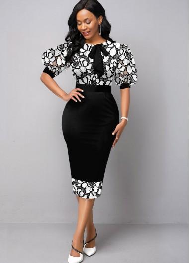 Black Dresses Puff Sleeve Round Neck Lace Panel Dress - M