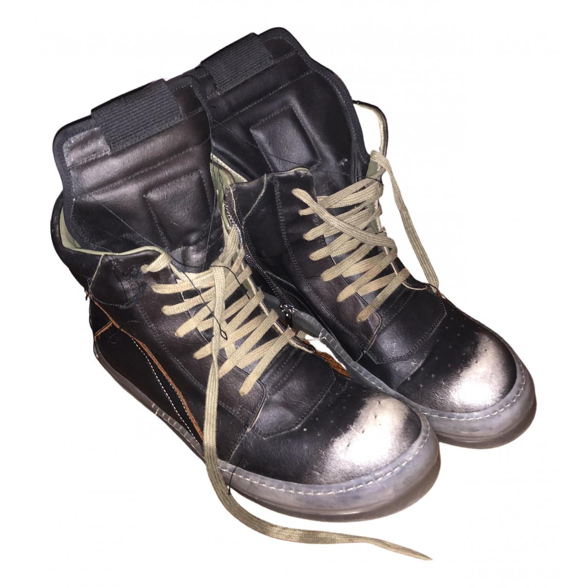 Rick Owens - Baskets   pour homme en cuir - noir