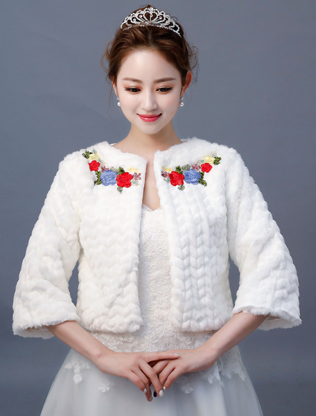 Milanoo Wedding Jacket Faux Fur Top Flowers Embroidered Ivory Bridal Cover Ups