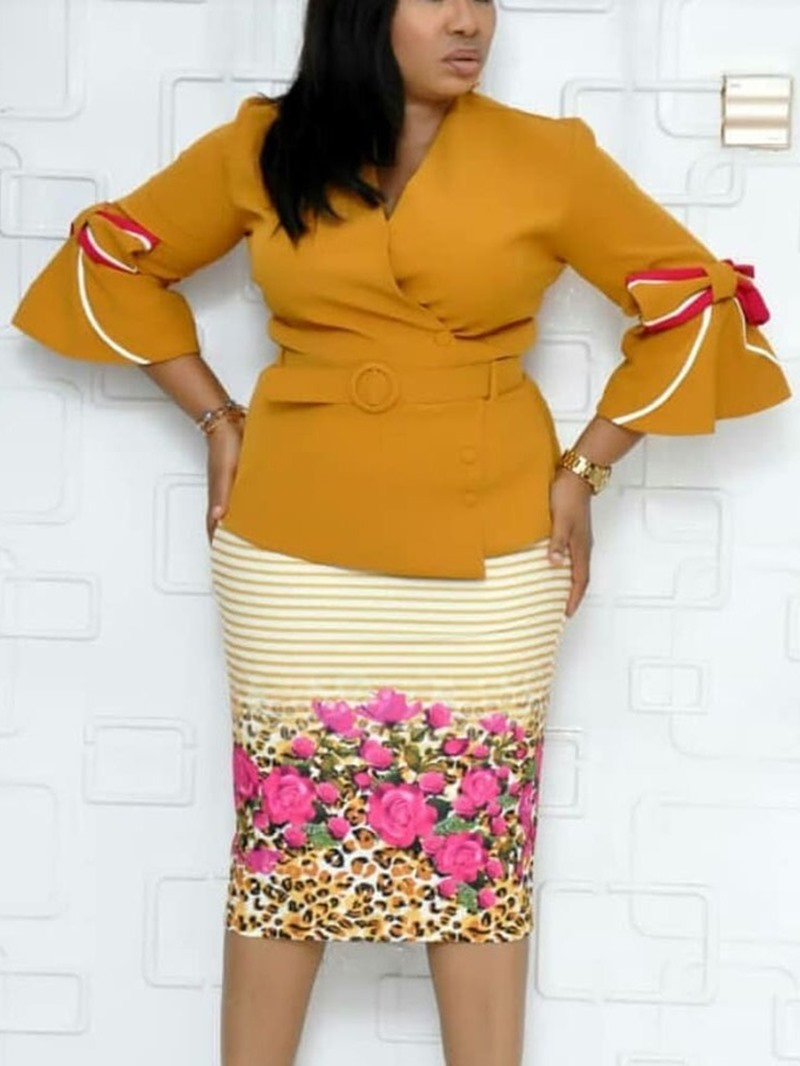 Ericdress Bodycon Print Flare Sleeve Bowknot Belt V-Neck Dress
