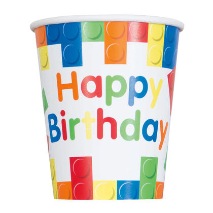 Building Blocks Birthday 9oz Paper Cups, 8ct For Birthday Party