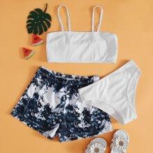 3 Stuecke Gerippter Bikini Badeanzug mit Batik