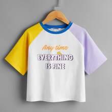 Girls Slogan Graphic Colorblock Raglan Sleeve Tee