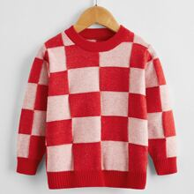 Toddler Girls Checkerboard Pattern Sweater